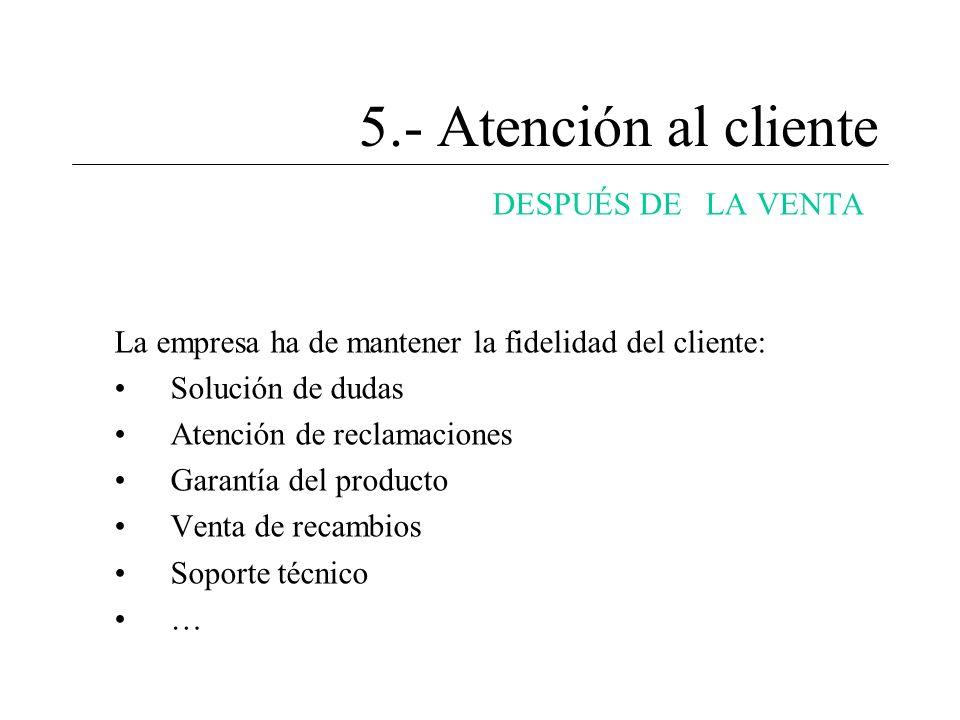 5.- Atención al cliente DESPUÉS DE LA VENTA La empresa ha de mantener la fidelidad del cliente: Solución de dudas Atención de reclamaciones Garantía d