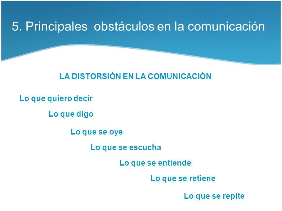 5. Principales obstáculos en la comunicación LA DISTORSIÓN EN LA COMUNICACIÓN Lo que quiero decir Lo que digo Lo que se oye Lo que se escucha Lo que s