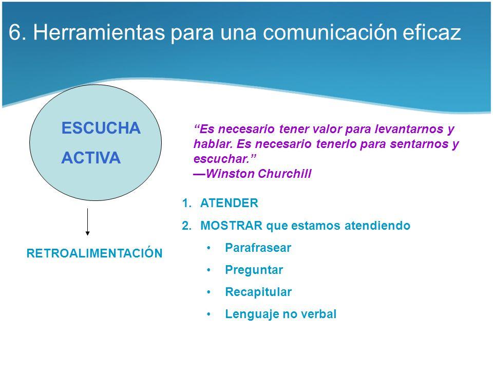 6. Herramientas para una comunicación eficaz ESCUCHA ACTIVA Es necesario tener valor para levantarnos y hablar. Es necesario tenerlo para sentarnos y