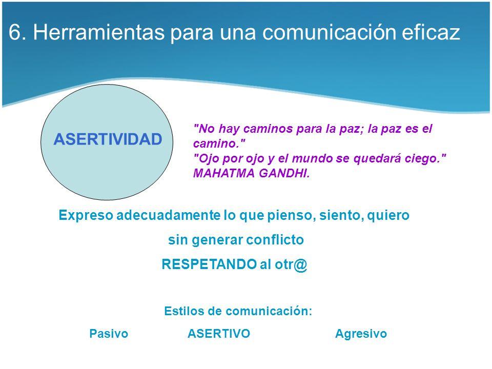 6. Herramientas para una comunicación eficaz ASERTIVIDAD