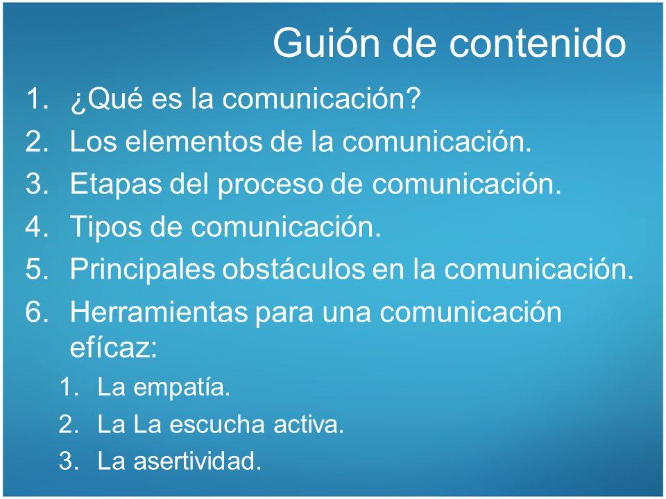 Guión de contenido 1.¿Qué es la comunicación? 2.Los elementos de la comunicación. 3.Etapas del proceso de comunicación. 4.Tipos de comunicación. 5.Pri