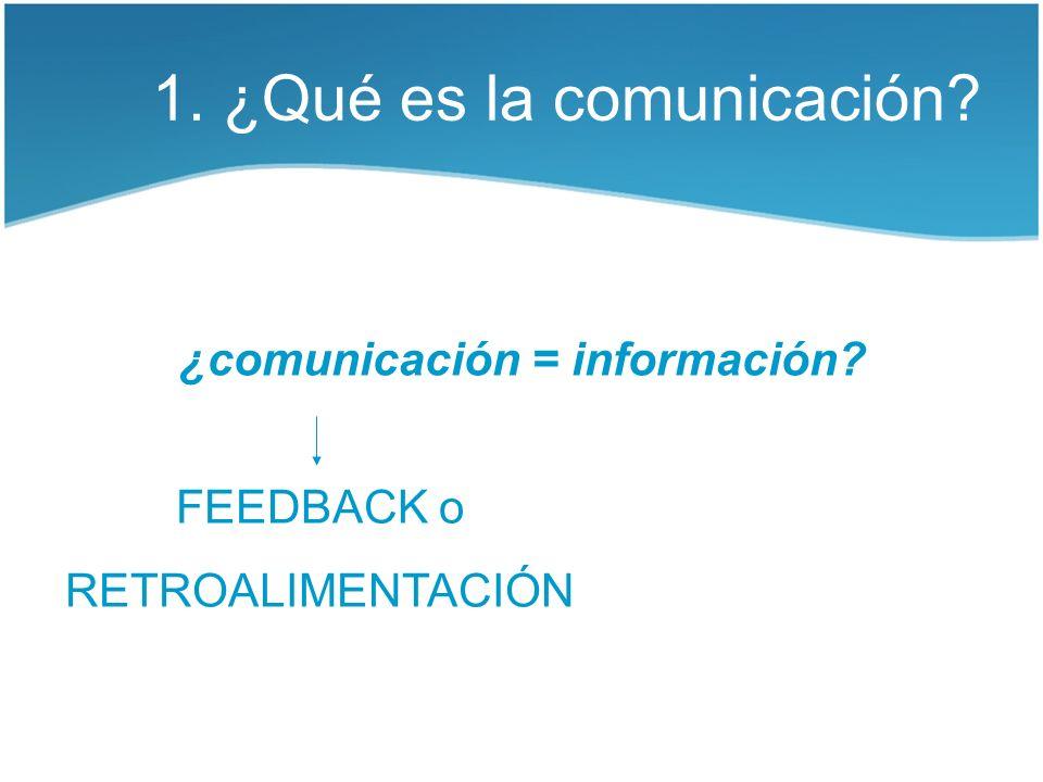 1. ¿Qué es la comunicación? ¿comunicación = información? FEEDBACK o RETROALIMENTACIÓN