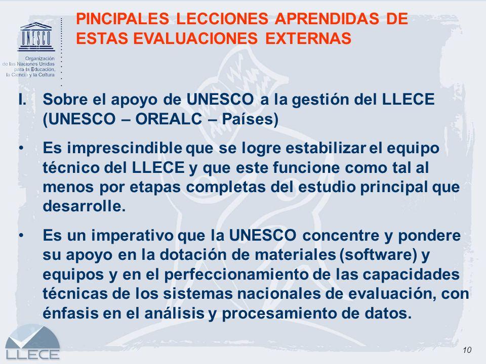 10 PINCIPALES LECCIONES APRENDIDAS DE ESTAS EVALUACIONES EXTERNAS I.Sobre el apoyo de UNESCO a la gestión del LLECE (UNESCO – OREALC – Países) Es impr
