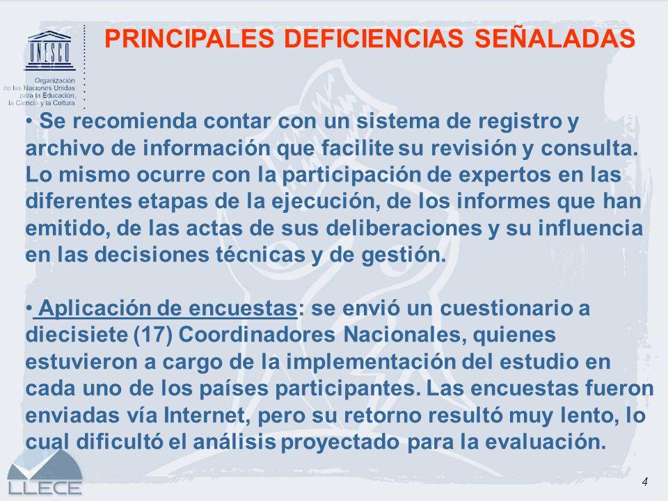 4 PRINCIPALES DEFICIENCIAS SEÑALADAS Se recomienda contar con un sistema de registro y archivo de información que facilite su revisión y consulta. Lo