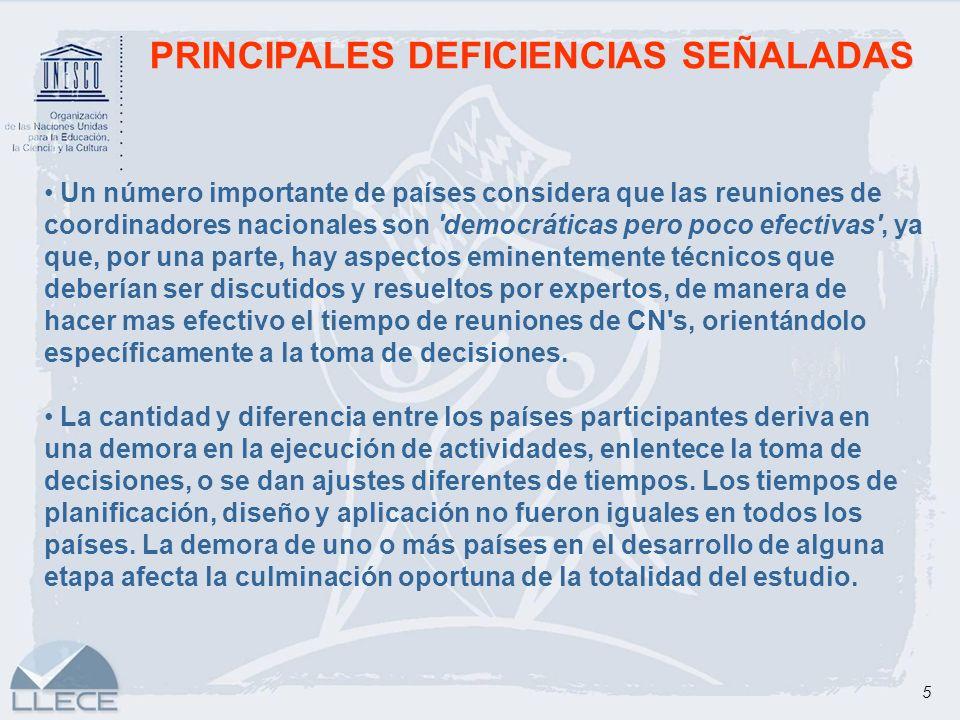 5 PRINCIPALES DEFICIENCIAS SEÑALADAS Un número importante de países considera que las reuniones de coordinadores nacionales son 'democráticas pero poc
