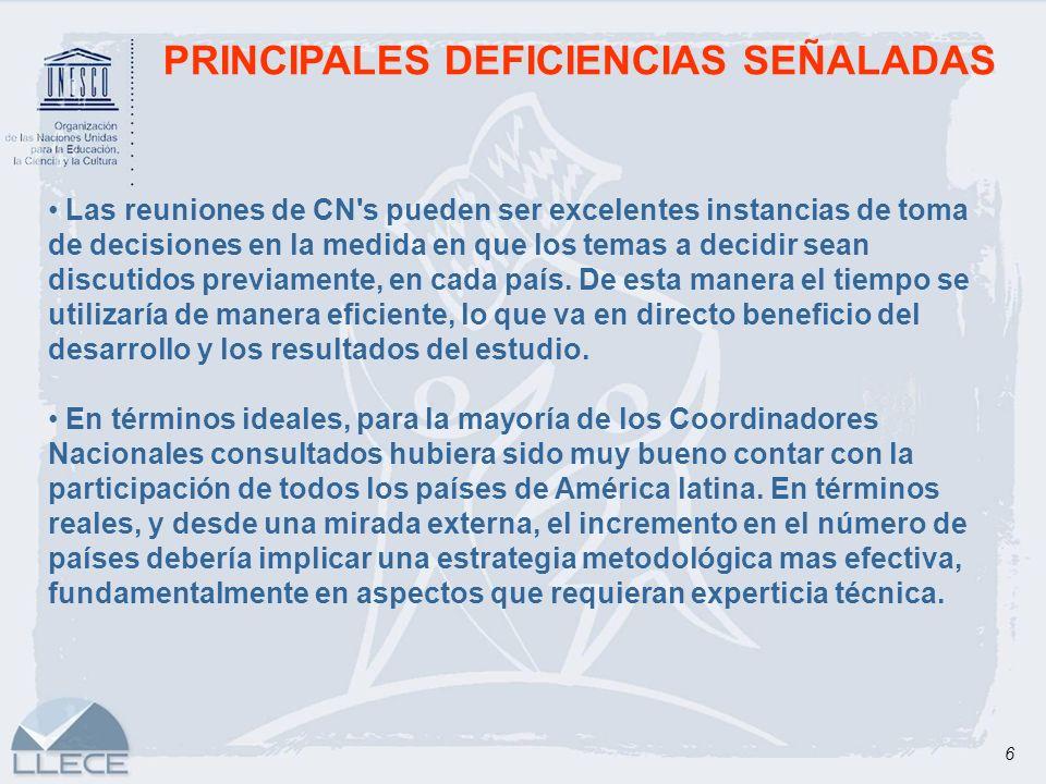 6 PRINCIPALES DEFICIENCIAS SEÑALADAS Las reuniones de CN's pueden ser excelentes instancias de toma de decisiones en la medida en que los temas a deci