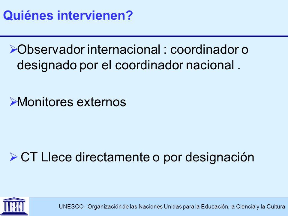 Observador internacional : coordinador o designado por el coordinador nacional. Monitores externos CT Llece directamente o por designación UNESCO - Or