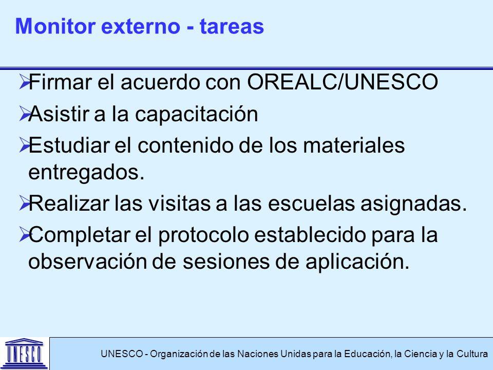 Firmar el acuerdo con OREALC/UNESCO Asistir a la capacitación Estudiar el contenido de los materiales entregados. Realizar las visitas a las escuelas