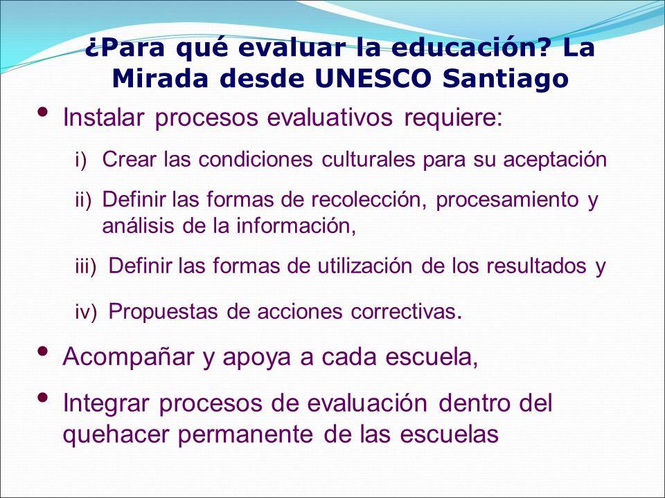 ¿Para qué evaluar la educación? La Mirada desde UNESCO Santiago Instalar procesos evaluativos requiere: i) Crear las condiciones culturales para su ac