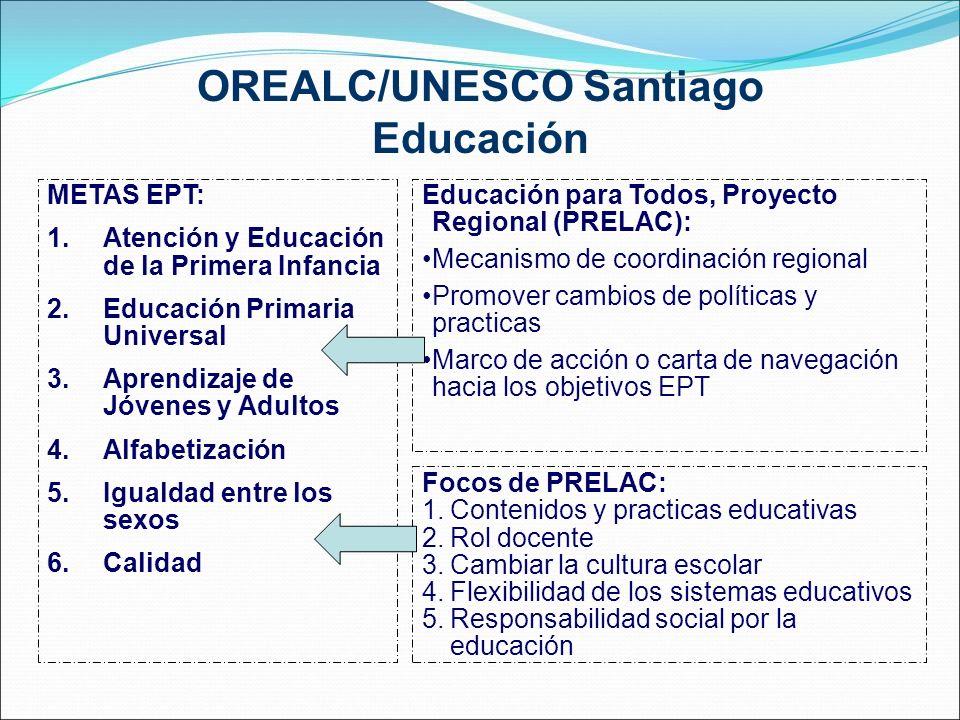 OREALC/UNESCO Santiago Educación METAS EPT: 1.Atención y Educación de la Primera Infancia 2.Educación Primaria Universal 3.Aprendizaje de Jóvenes y Ad