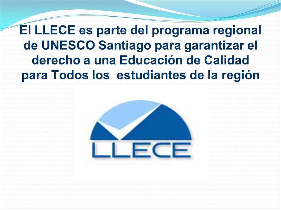 El LLECE es parte del programa regional de UNESCO Santiago para garantizar el derecho a una Educación de Calidad para Todos los estudiantes de la regi