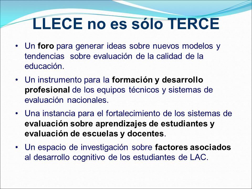 LLECE no es sólo TERCE Un foro para generar ideas sobre nuevos modelos y tendencias sobre evaluación de la calidad de la educación. Un instrumento par