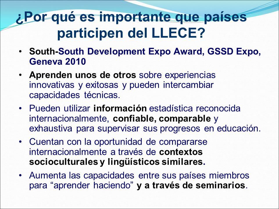 ¿Por qué es importante que países participen del LLECE? South-South Development Expo Award, GSSD Expo, Geneva 2010 Aprenden unos de otros sobre experi