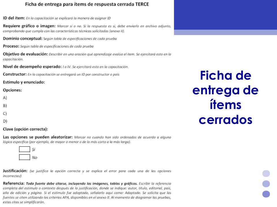 Ficha de entrega de ítems cerrados