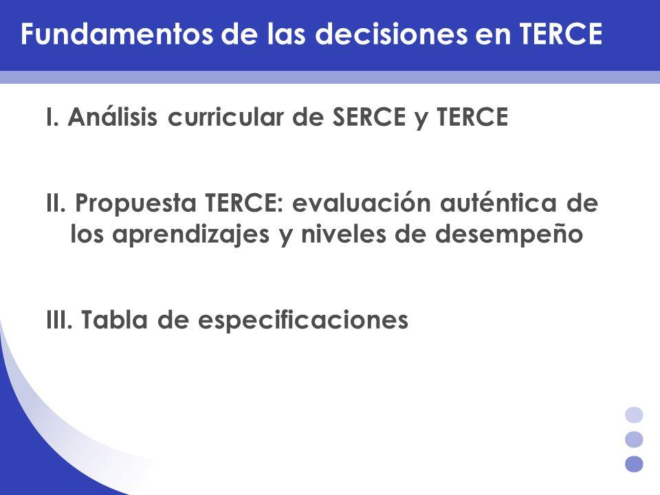 Fundamentos de las decisiones en TERCE I. Análisis curricular de SERCE y TERCE II. Propuesta TERCE: evaluación auténtica de los aprendizajes y niveles