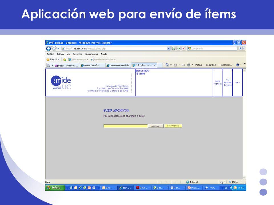 Aplicación web para envío de ítems