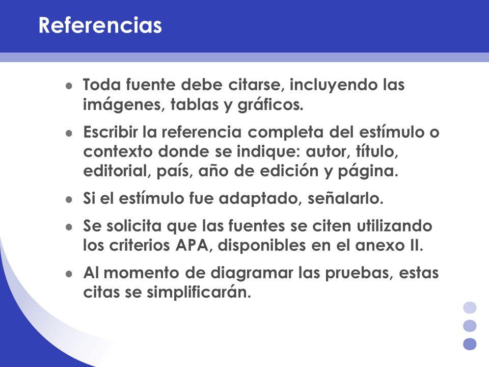 Referencias Toda fuente debe citarse, incluyendo las imágenes, tablas y gráficos. Escribir la referencia completa del estímulo o contexto donde se ind