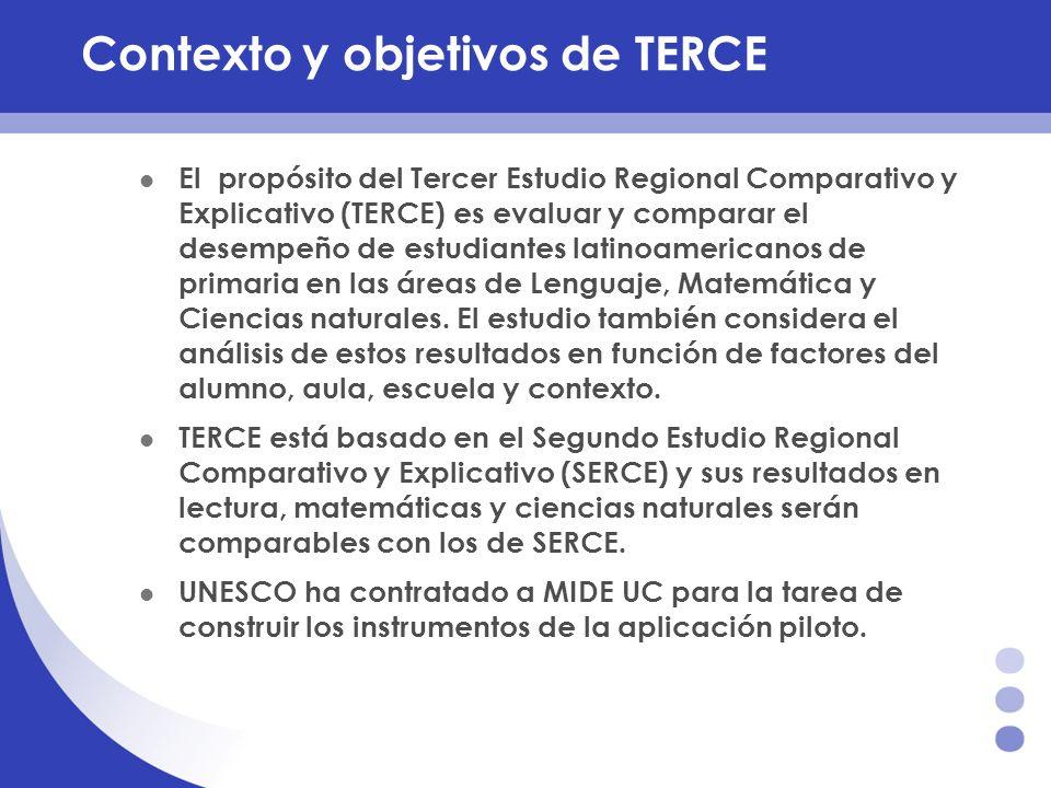 Contexto y objetivos de TERCE El propósito del Tercer Estudio Regional Comparativo y Explicativo (TERCE) es evaluar y comparar el desempeño de estudia