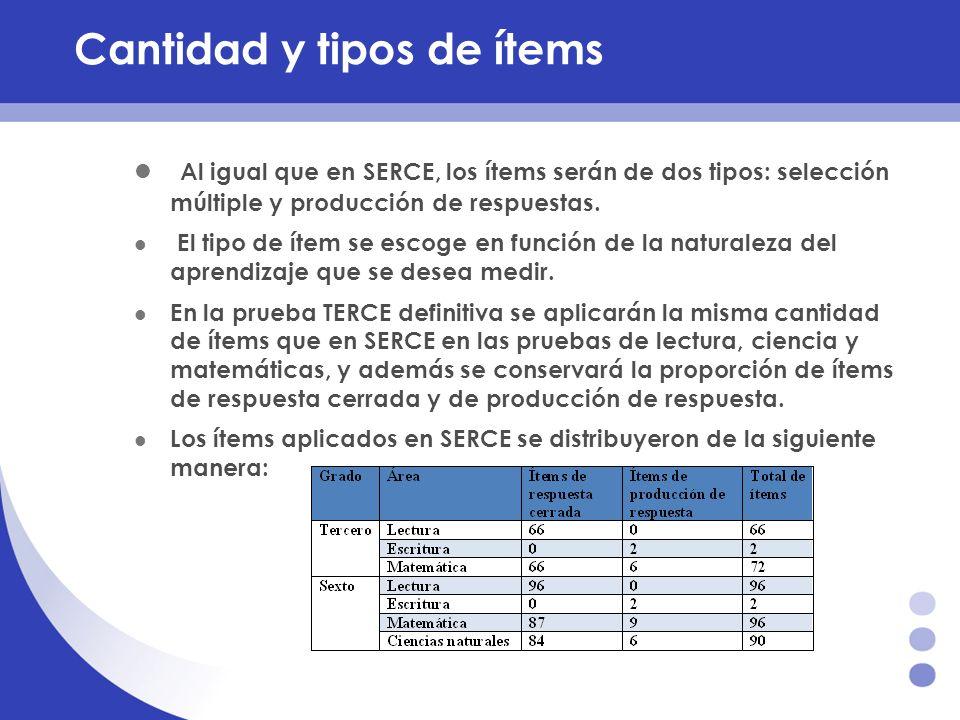 Cantidad y tipos de ítems Al igual que en SERCE, los ítems serán de dos tipos: selección múltiple y producción de respuestas. El tipo de ítem se escog