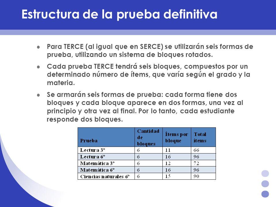 Estructura de la prueba definitiva Para TERCE (al igual que en SERCE) se utilizarán seis formas de prueba, utilizando un sistema de bloques rotados. C