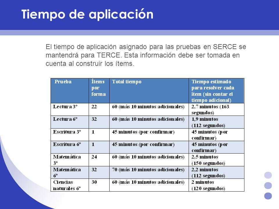 Tiempo de aplicación El tiempo de aplicación asignado para las pruebas en SERCE se mantendrá para TERCE. Esta información debe ser tomada en cuenta al