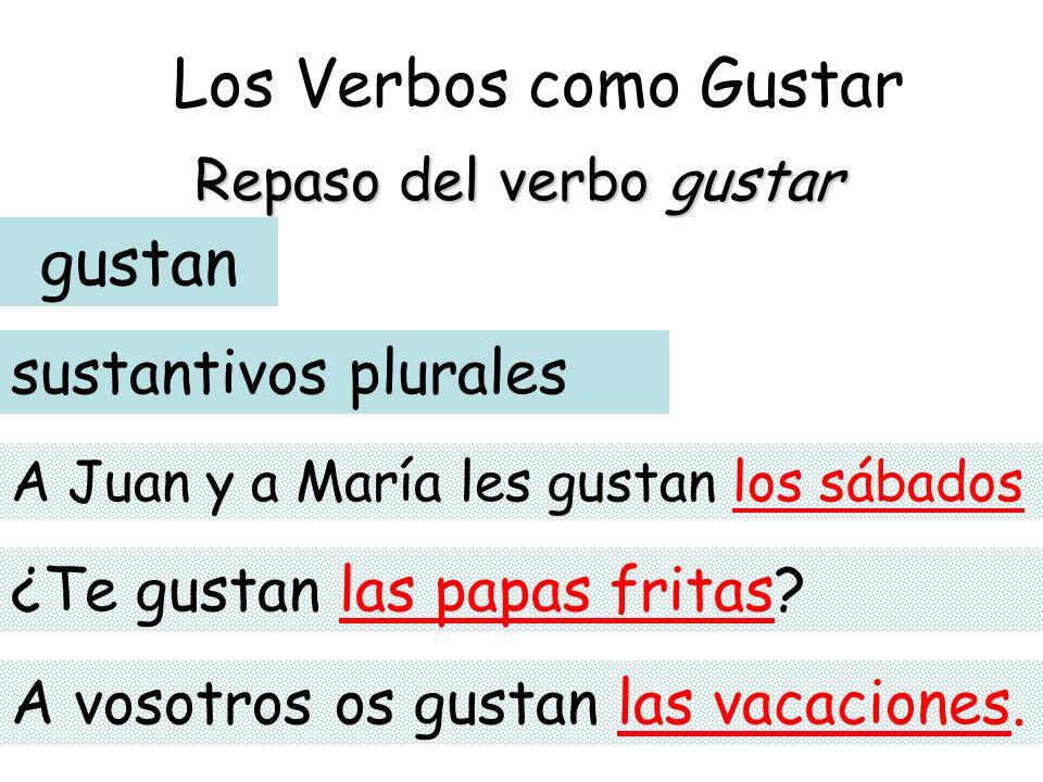 Los Verbos como Gustar Repaso del verbo gustar gustan sustantivos plurales A Juan y a María les gustan los sábados ¿Te gustan las papas fritas? A voso