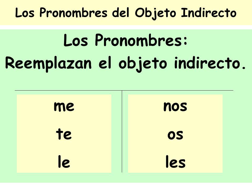 Los Pronombres del Objeto Indirecto Los Pronombres: Reemplazan el objeto indirecto. nos os les me te le