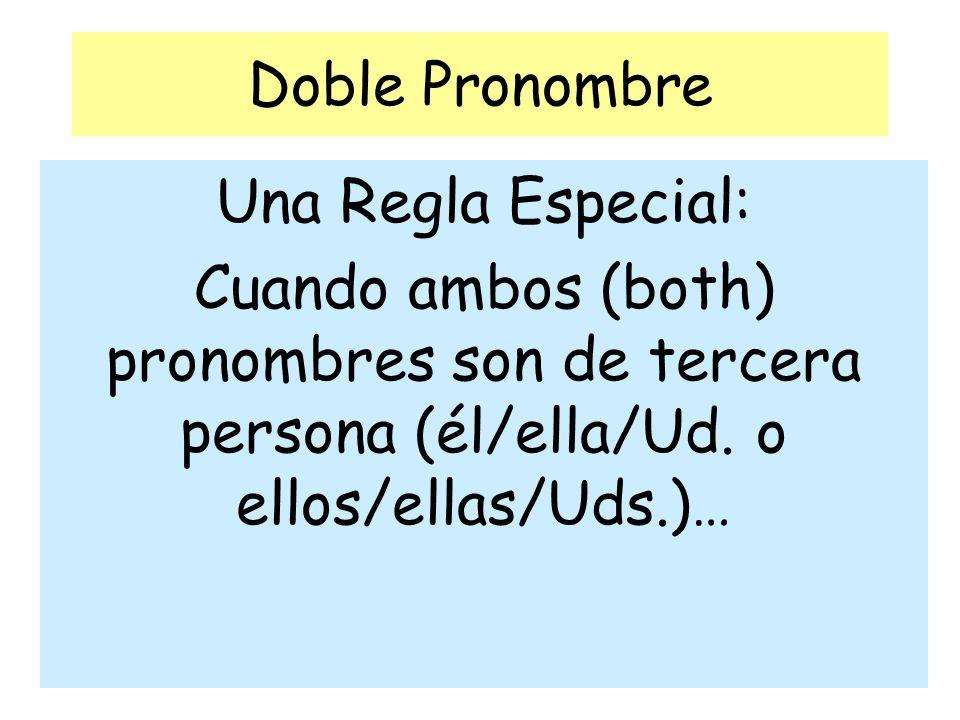 Doble Pronombre Una Regla Especial: Cuando ambos (both) pronombres son de tercera persona (él/ella/Ud. o ellos/ellas/Uds.)…