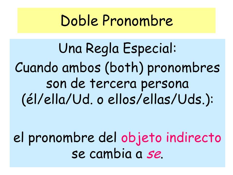 Doble Pronombre Una Regla Especial: Cuando ambos (both) pronombres son de tercera persona (él/ella/Ud. o ellos/ellas/Uds.): el pronombre del objeto in