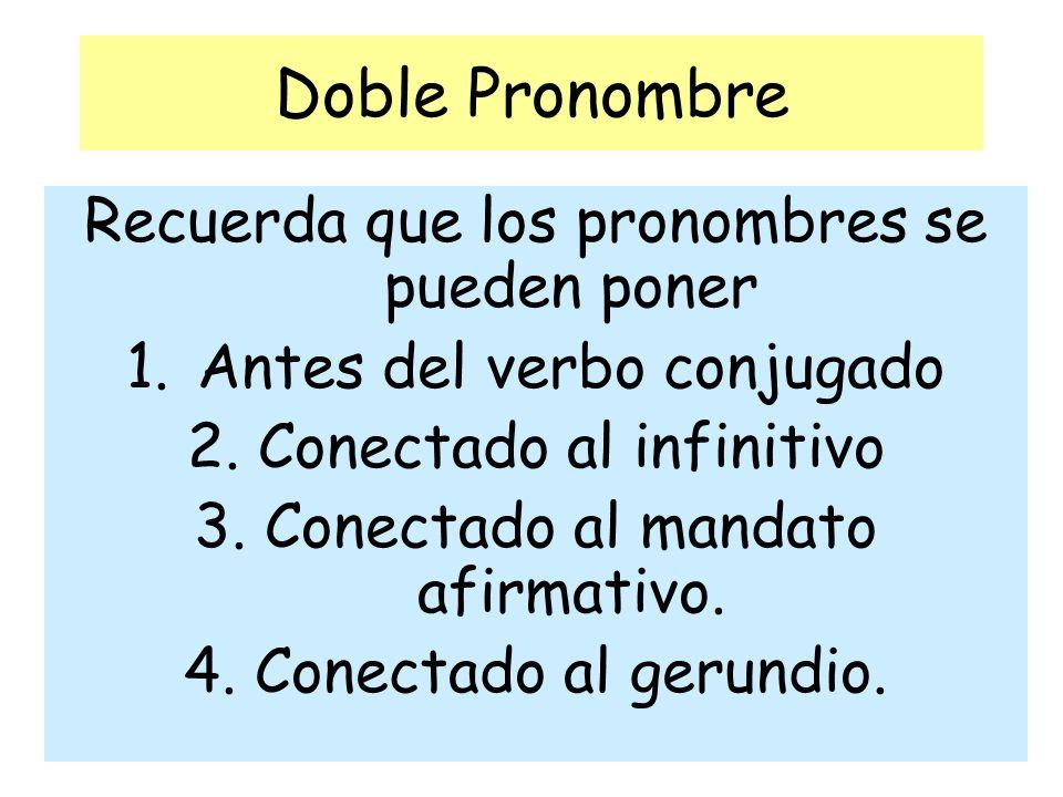 Doble Pronombre Recuerda que los pronombres se pueden poner 1.Antes del verbo conjugado 2.Conectado al infinitivo 3.Conectado al mandato afirmativo. 4