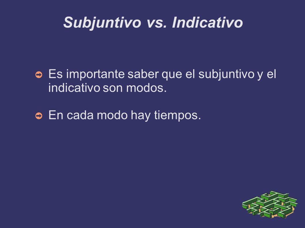 Subjuntivo vs. Indicativo Es importante saber que el subjuntivo y el indicativo son modos. En cada modo hay tiempos.