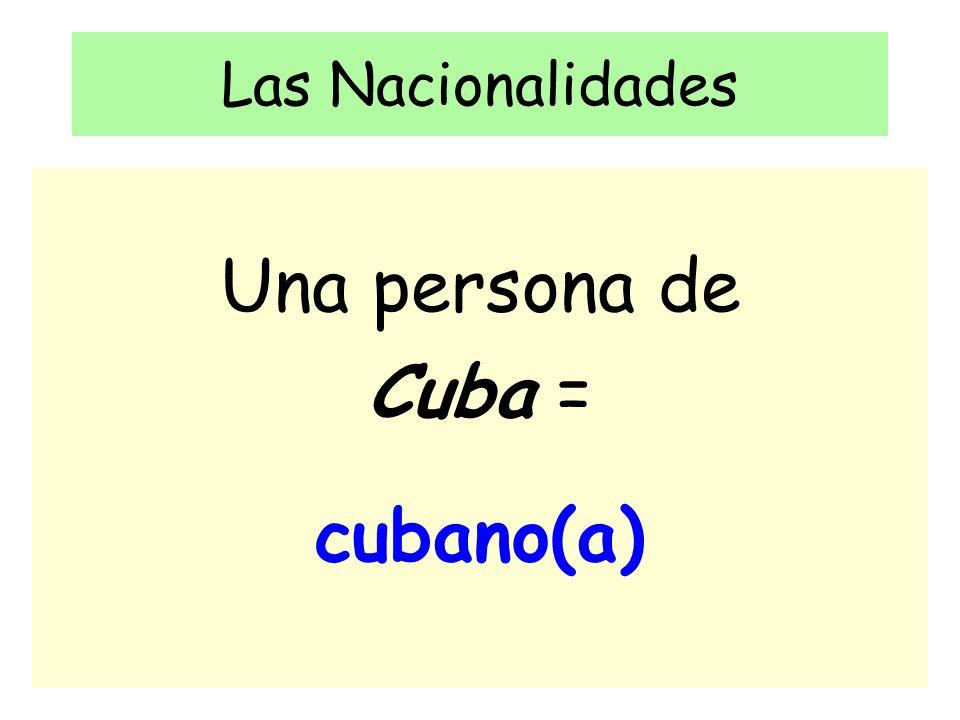 Las Nacionalidades Una persona de Cuba = cubano(a)