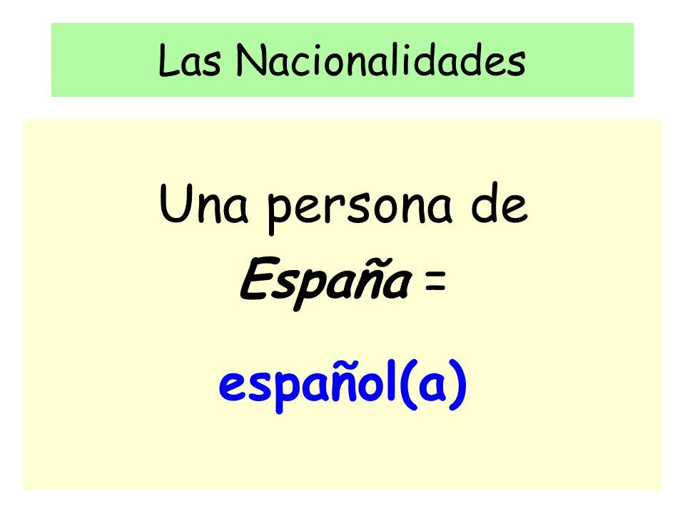 Las Nacionalidades Una persona de España = español(a)