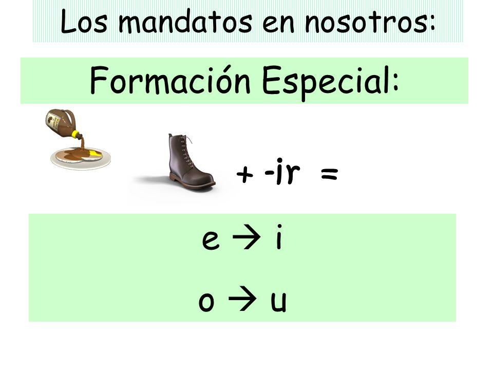 Los mandatos en nosotros: Formación Especial: e i o u + -ir =