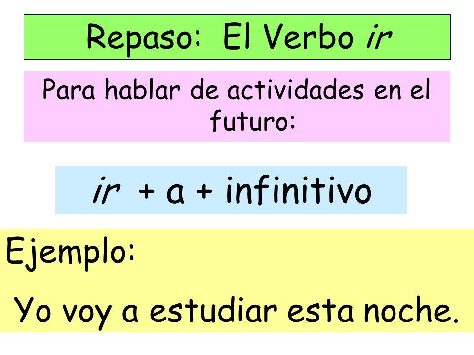 Para hablar de actividades en el futuro: Repaso: El Verbo ir ir + a + infinitivo Ejemplo: Yo voy a estudiar esta noche.