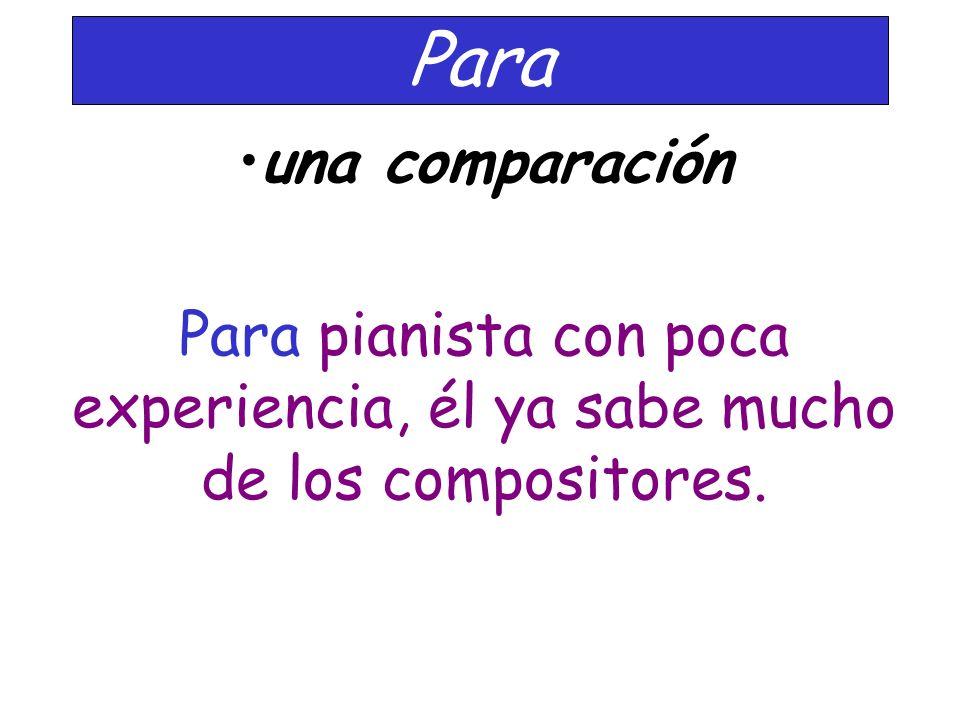 Para una comparación Para pianista con poca experiencia, él ya sabe mucho de los compositores.