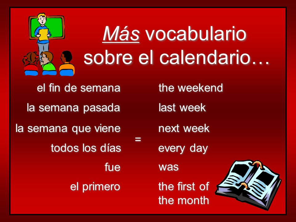 Más vocabulario sobre el calendario… Más vocabulario sobre el calendario… la semana que viene todos los días la semana pasada el primero el fin de semana next week every day last week the first of the month the first of the month the weekend = = fue was
