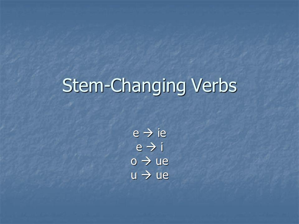 Stem-Changing Verbs e ie e i o ue u ue