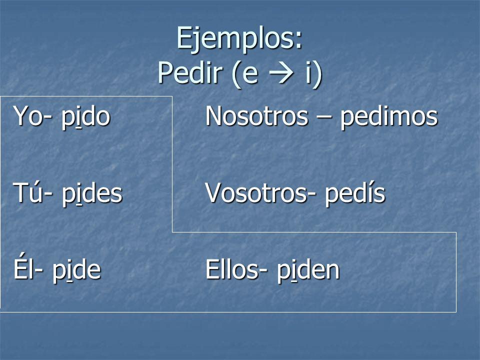 Ejemplos: Pedir (e i) Yo- pidoNosotros – pedimos Tú- pidesVosotros- pedís Él- pideEllos- piden