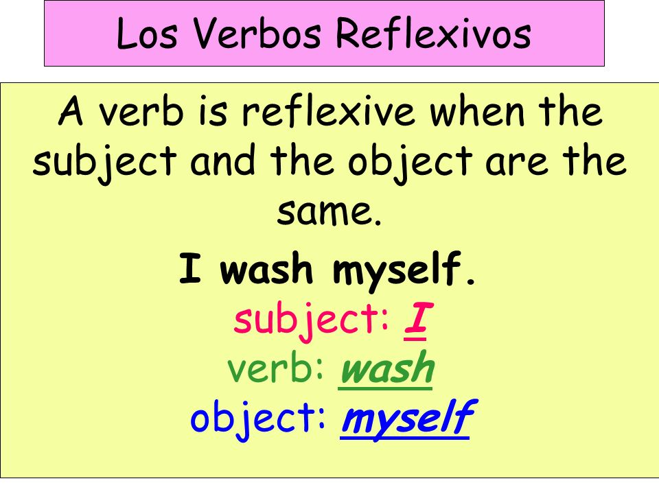 Los Verbos Reflexivos A verb is reflexive when the subject and the object are the same.