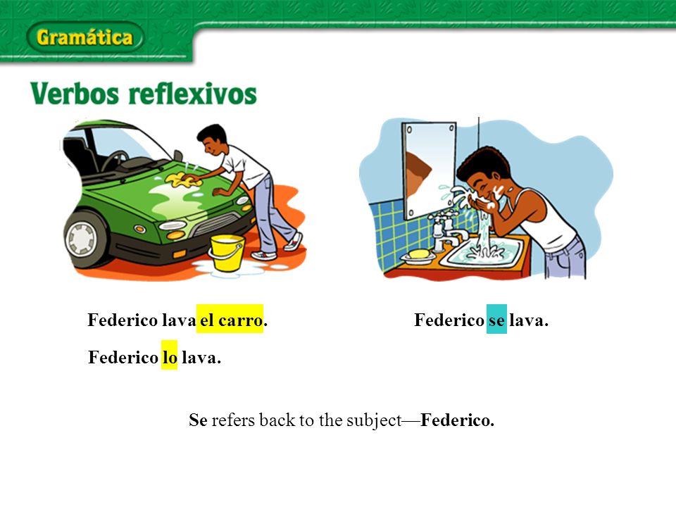 Federico se lava. Federico lo lava. Federico lava el carro. Se refers back to the subjectFederico.