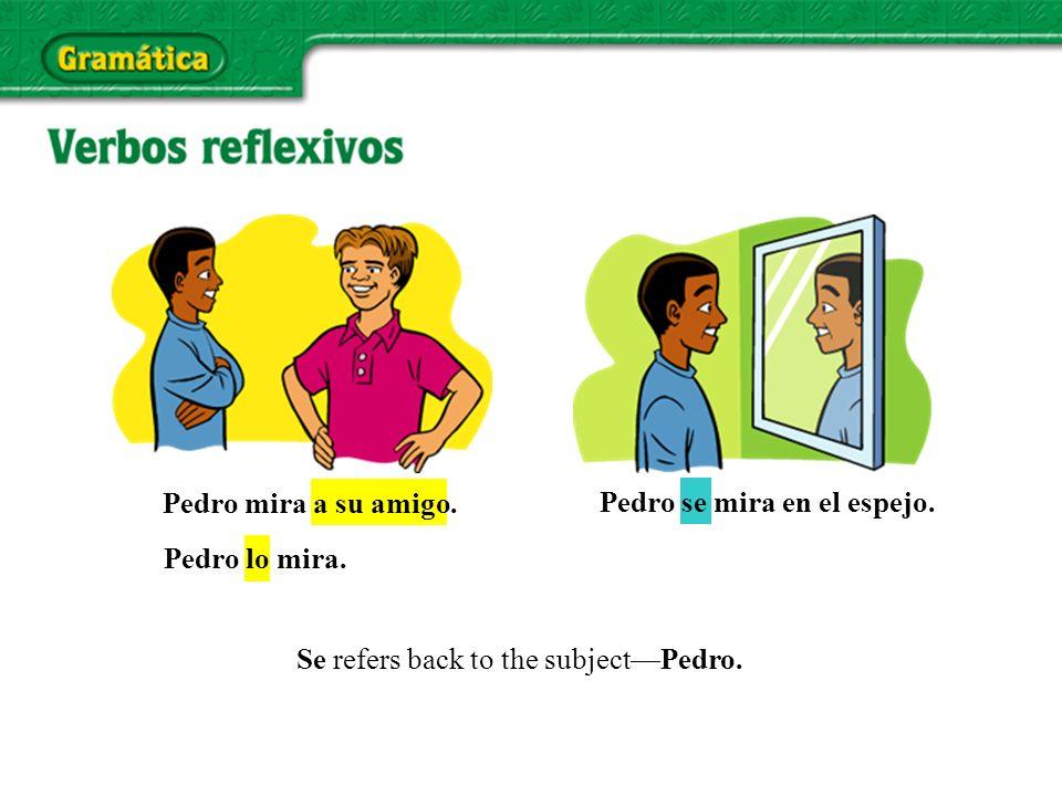 Pedro lo mira. Pedro mira a su amigo. Pedro se mira en el espejo.