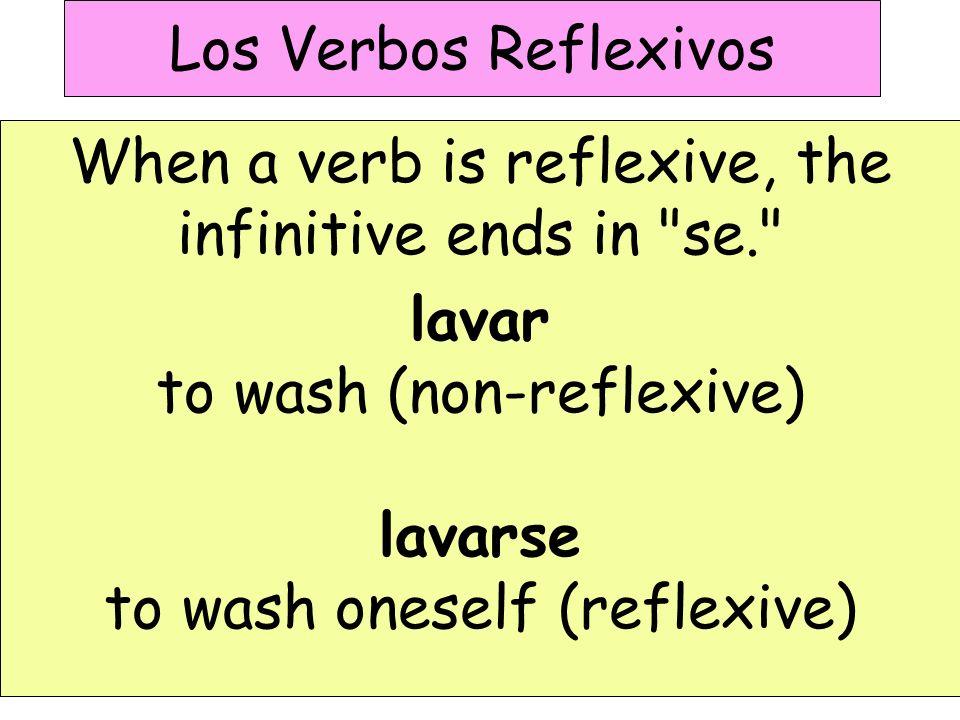 Los Verbos Reflexivos To conjugate Reflexive Verbs, you need to use Reflexive Pronouns: me te se nos os se