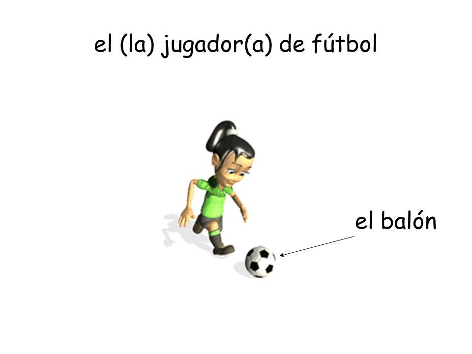 el (la) jugador(a) de fútbol el balón