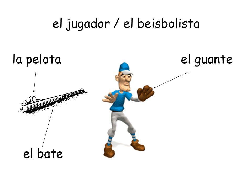 el jugador / el beisbolista el guante el bate la pelota