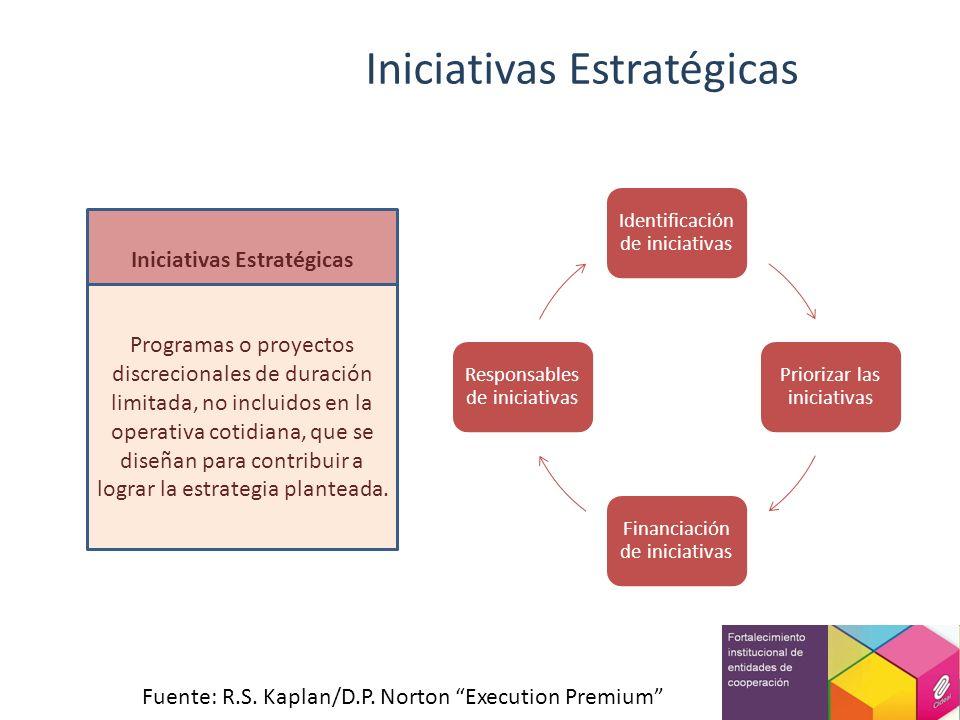 Iniciativas Estratégicas Programas o proyectos discrecionales de duración limitada, no incluidos en la operativa cotidiana, que se diseñan para contri