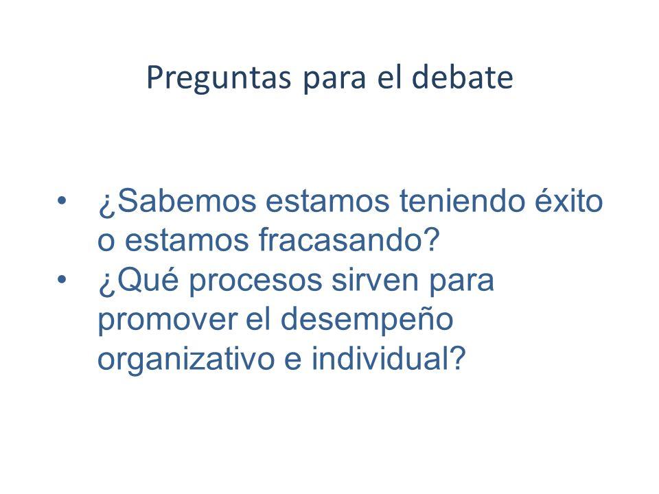 Preguntas para el debate ¿Sabemos estamos teniendo éxito o estamos fracasando? ¿Qué procesos sirven para promover el desempeño organizativo e individu