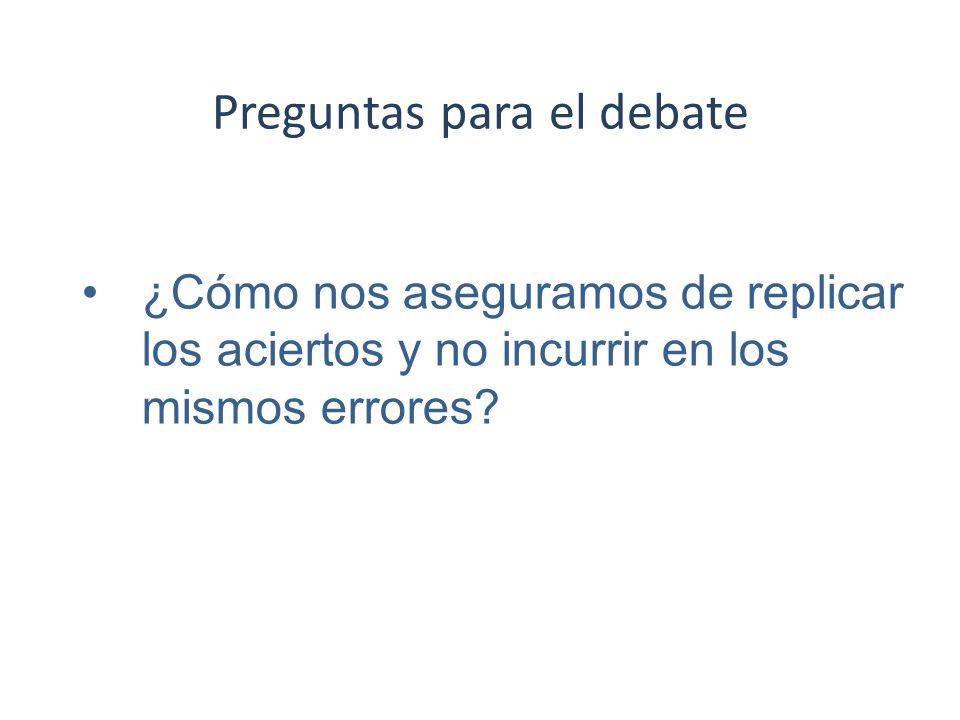 Preguntas para el debate ¿Cómo nos aseguramos de replicar los aciertos y no incurrir en los mismos errores?