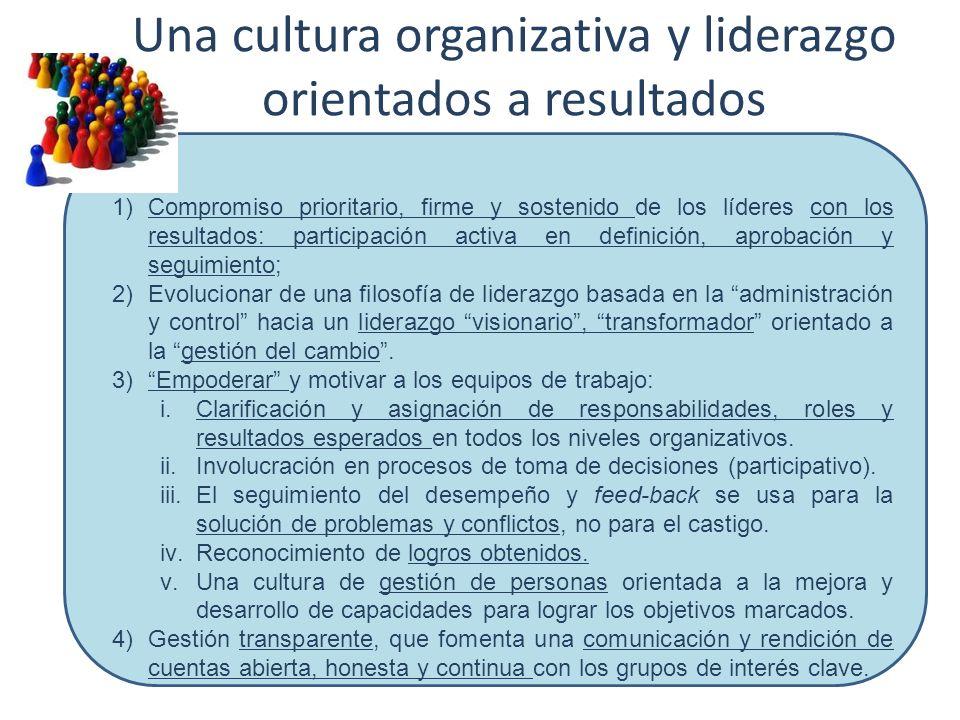 Una cultura organizativa y liderazgo orientados a resultados 1)Compromiso prioritario, firme y sostenido de los líderes con los resultados: participac