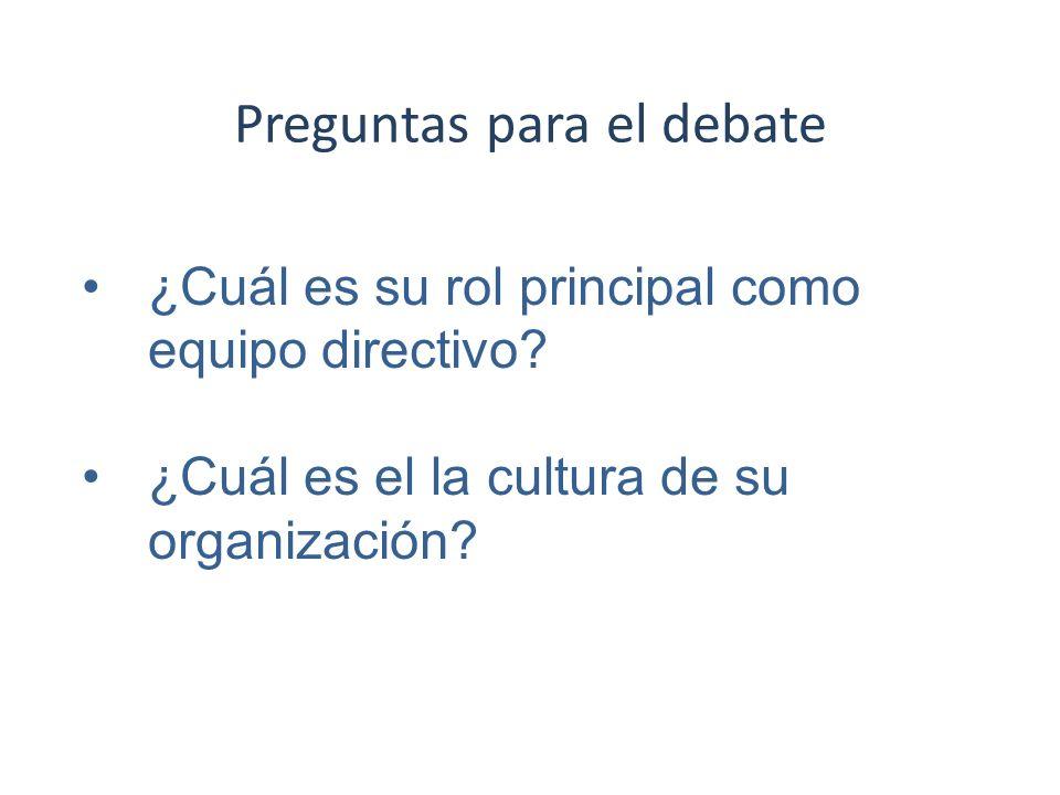 Preguntas para el debate ¿Cuál es su rol principal como equipo directivo? ¿Cuál es el la cultura de su organización?